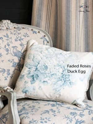 Annie Sloan stoffen Faded Roses Duck Egg Blue
